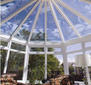 Bespoke glass conservatory roof in uPVC