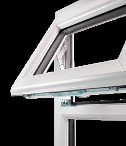 Modern upvc windows: white casement window with top opening sash