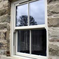 An elegant white uPVC sash window