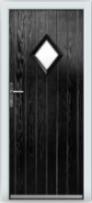 Black front door: composite cottage door with diamond pane