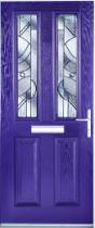 Purple front door: composite door with glazed panels in geometric patterns