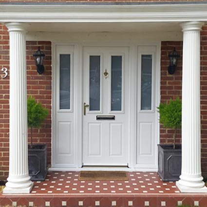 A uPVC entrance door with side panels