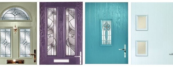 Front door ideas: coloured comoposite doors by Hurst (moss green, heather, turquoise, ice blue).