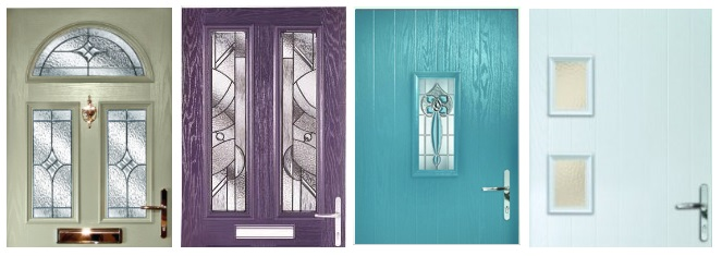 Front door ideas: coloured comoposite doors by Hurst (moss green, heather, turquoise, ice blue).