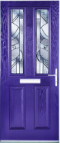 Purple front door: composite door with glazed panels in geometric patterns