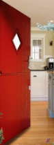 Red front door: composite stable door where both halves open
