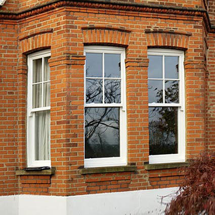 Wooden sash windows with double glazing