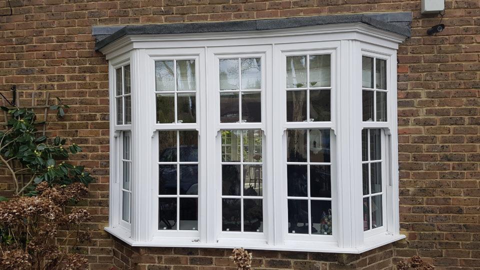 uPVC sash window, white