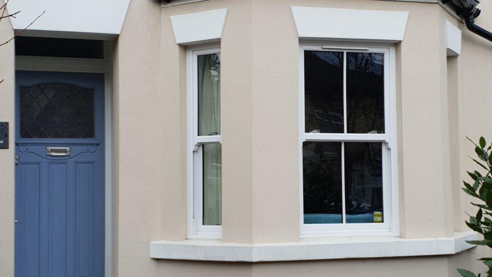UPVC sash windows with built-in ventilation installed Thornton Heath London