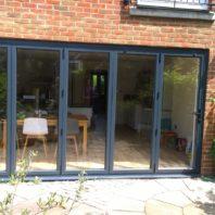 Bi-fold doors, dark finish