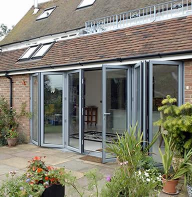 Bi-fold patio doors, grey
