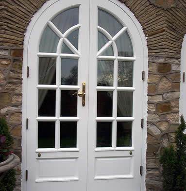 Elegant french doors, white