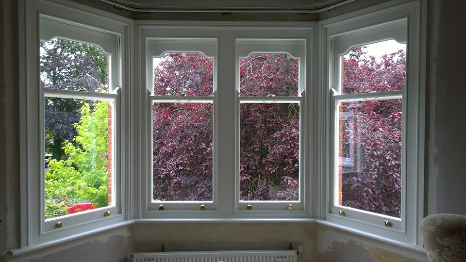 Timber sash window interior
