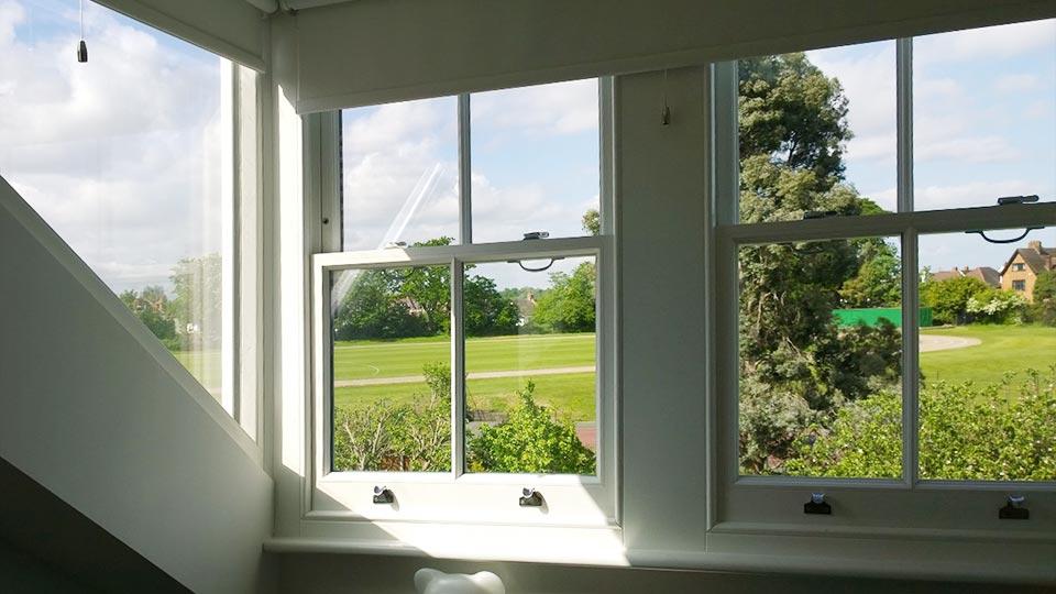 Timber sah windows, interior view