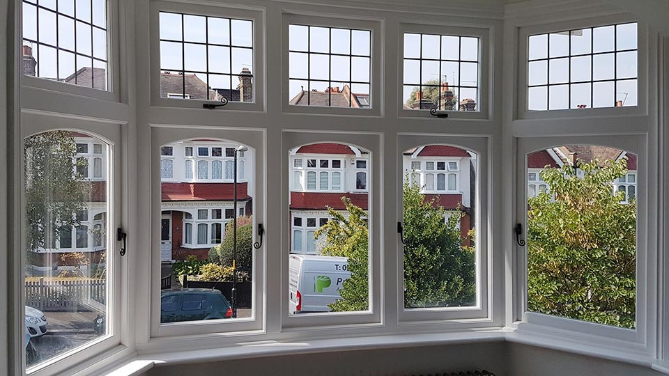Timber windows, inside view, London